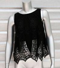 SKY Brand Sleeveless Black Lace Crochet Crop Top