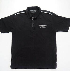 ASTON MARTIN Mens Classic Logo Black Polo Shirt Size XL 100% Cotton Reg Fit EUC