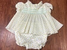 VTG Mothercare Baby Yellow Floral Smocked Ruffles Dress w/ Diaper Cover 9 Months