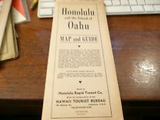 Honolulu and the Island of Oahu Map & Guide -showing rail & trolley lines - 1934