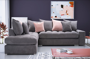 ROBERTO- CORNER SOFA, 7 CUSHIONS INCLUDED, VARIOUS COLOURS AND FABRICS