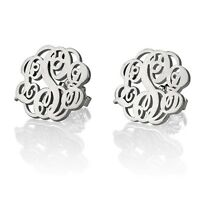 NEW Stud Monogram Earrings Fashion Women Jewelry - Elegant Pair Silver Hot Gift