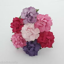 50 Mulberry Paper Flowers Decoration Scrapbook Card Wedding Roses Basket R21-604