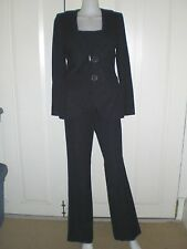 AUTH. RENA LANGE NAVY BLUE COTTON SINGLE BREASTED FLORAL PANTS SUIT SIZE 6 USED