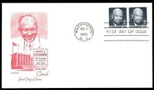 US 1401 Eisenhower Coil Stamp Pair Aug 6, 1970 Artmaster First Day Cover F1401-1