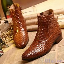 Mens British Weave Oxford Pointy Toe Zip Real Leather Shoes Ankle Boots 2018 New