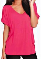 J83 New Women V Neck Top Ladies Turn Up Cap Sleeve Loose Batwing Plus Size Shirt