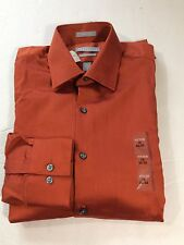 Van Heusen Fitted Long Sleeve Solid Spr Dress Shirt Orange Sz.15 Cuff Cotton #36