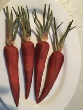 4 Large Silk Vintage Stitched Carrots With Stems