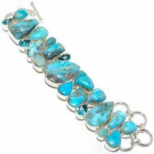 "Caribbean Larimar, Blue Topaz Silver Fashion Jewelry Bracelet 7-8"" SB4548"