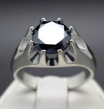 3.35cts 10.11mm Men's REAL Natural Black Diamond Ring AAA Grade $1875 Value.....