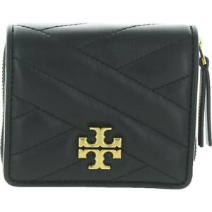 Tory Burch Womens Kira Black Leather Quilted Bifold Wallet Small BHFO 1865