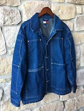 TOMMY HILFIGER Mens Large Vintage Denim Jean Field Chore Jacket