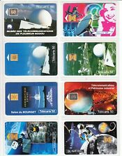 8 PHONE CARD SET / TELECARTE   FRANCE PACK SPACE ESPACE MIX TOPIC USED/CHIP