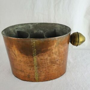 Hammered Copper & Brass Old Dutch Style Ice Bucket 2 Bottle Chiller Insert Vtg