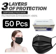 (50 Pcs)Black 3-Ply Disposable Protectiv Face Mask Surgical Earloop Mouth Cover