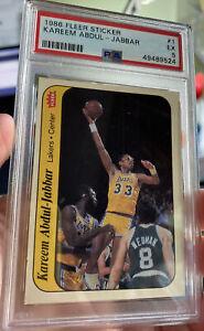 1986 Fleer Sticker Kareem Abdul-Jabbar PSA 5 Excellent EX NBA LA Lakers Card #1