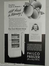 1948 Philco Freezer ad, peaches, upright freezer