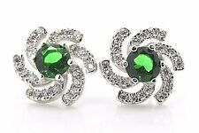 925 Sterling Silver Art Deco Flower Blue Emerald Halo Pave Post Stud Earrings