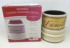 Ceramic Candle Warmer Crock Faith Family Friends Design Electric Home Decor