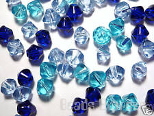 100pc 6mm Crystal Glass Pressed Bicone Beads Value Bulk- Blue Mix Pack (BB6024)