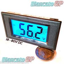 VOLTMETRO DIGITALE 18-80V DC LCD BLU pannello solare camion 24V 36V 48V ebike