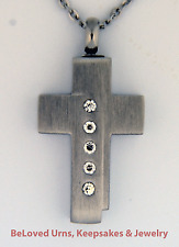 Stainless Steel Offset Cross with 5 CZ's Cremation Jewelry Pendant Keepsake Urn