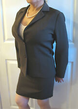 Women's Style Comma Chocolate Brown Polyester Skirt Suit 40, Jacket 42