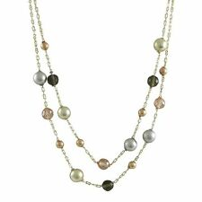 Tri Color Gold Finish Sterling Silver Smoky CZ Womens Two Row Necklace