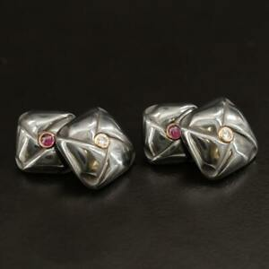 TRIANON 14K Gold Hematite Diamond & Ruby Cufflinks