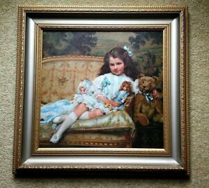 PAINTING Portrait Marjorie Cohen Victorian Girl Dolls Bear by George Hall Neale
