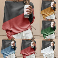 Mode Femme Sexy Patchwork Shirts Casual Manches Longues Grand Taille Hauts