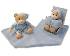 Bebé Chicos Azul Suave Oso De Peluche En Pijamas & Manta En Caja Conjunto de Regalo