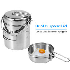 Steel Cooking Kettle Outdoor Camping Backpacking Pot with Foldable Handle G2A8