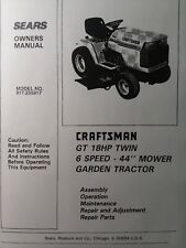 Sears Craftsman 18 hp 44 6sp Lawn Garden Tractor Owner & Parts Manual 917.255917