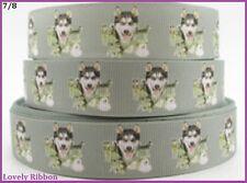 1 metre, HUSKY, Malamute, Ribbon, 7/8, Dogs, Grosgrain, 22mm, Hair, Wolf, Decor