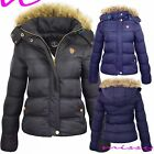 NEW WOMENN LADIES QUILTED WINTER COAT PUFFER FUR HOODED JACKET PARKA size 8-16