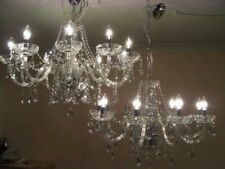 PAIR of Gorgeous Large elegant 10 Light French style glass & crystal chandeliers