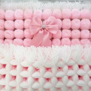 Pink Pom Pom Blanket  Pink & White Mix Blanket Baby Girl Pink Baby Girl blanket