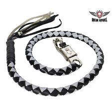 """42"""" Genuine Hand-Braided Leather Black & Silver Get Back Whip For Motorcycles"""