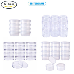 1 Set Round Clear Plastic Bead Storage Containers Box Case with Flip-Up Lids