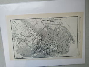 Original Vintage Map of the Brooklyn Rapid Transit Co. System - 1910