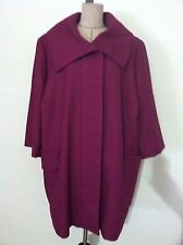 Relativity 24W woman plus jacket coat pink fushia large collar pocket 3/4 sleeve