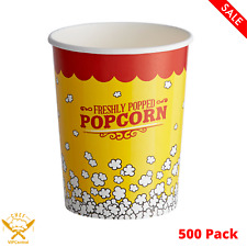 500 Pack 32 Oz Popcorn Cup Round Paper Movie Theatre Concession Stackable New