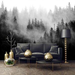 Vlies Fototapete schwarz weiß Wald Nebel Landschaft Bäume Natur Wohnzimmer XXL 1