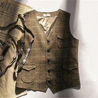 Mens Wool Blend Herringbone  Tweed V Neck Waistcoat Vest Plaid Gelet Pocket