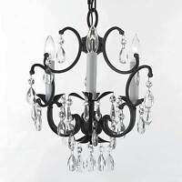 Wrought Iron Crystal Chandelier 3 Lights Lighting Country French Ceiling Fixture