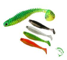 5 x RIBBED LURE 80mm Drop shot jig soft rubber shad for perch pike weedless UK