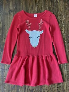 Gymboree Girls Holiday Red Reindeer Long Sleeves Sweater Dress Size 8