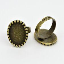 2 supports de bague réglable couleur bronze pour cabochon 13x18 mm